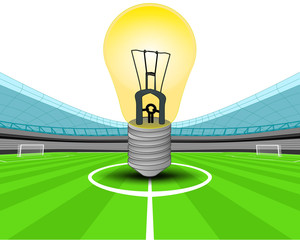 yellow lightbulb in the midfield of football stadium vector