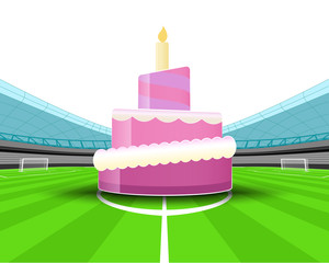 celebration cake in the midfield of football stadium vector