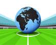 Africa world globe in the midfield of football stadium vector