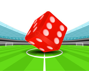 red luck dice in the midfield of football stadium vector