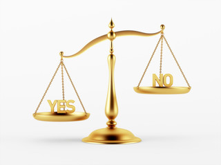 Yes and No Justice Scale Concept