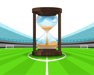hourglass countdown in the midfield of football stadium vector