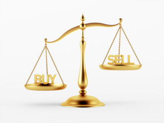 Buy and Sell Justice Scale Concept