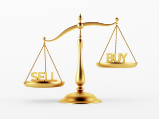 Sell and Buy Justice Scale Concept