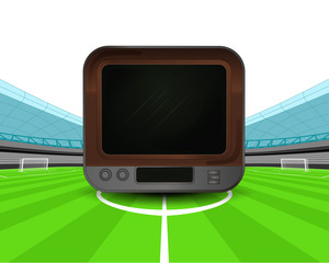 retro television in the midfield of football stadium vector