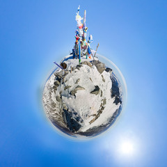 Peak of Mount Munch-Sardyk. little planet 360