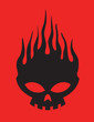 Постер, плакат: Skull on Fire Vector Clipart Design Illustration