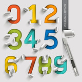 Fototapety Alphabet number paper cut colorful font style. Vector illustrati