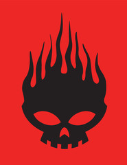 Skull on Fire Vector Clipart Design Illustration