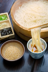 Dish of Udon noodles