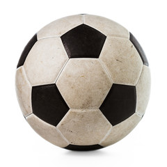 Isolated dirty soccer ball on white background
