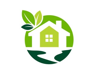 logo green house,global real estate nature symbol,home icon