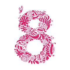 Floral number 8 for your design