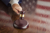 Judge Slams Gavel and American Flag Table Reflection