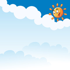 Vector cartoon sun clouds