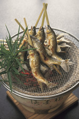 Sweetfish grilled with salt on a charcoal brazier