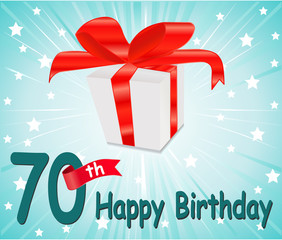 70 year Happy Birthday Card with gift and colorful background