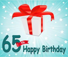 65 year Happy Birthday Card with gift and colorful background