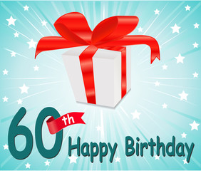 60 year Happy Birthday Card with gift and colorful background
