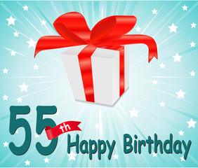 55 year Happy Birthday Card with gift and colorful background