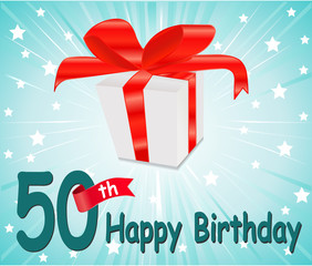 50 year Happy Birthday Card with gift and colorful background