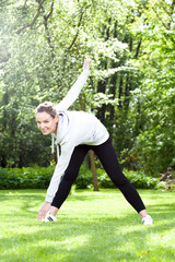 Woman practising in the park