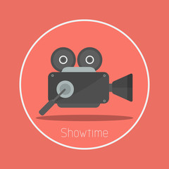 "Showtime : Vector ""movie camera"" icon flat design"