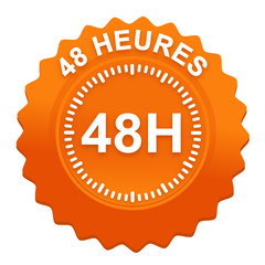 48 heures sur bouton web denté orange