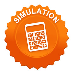 calculatrice de simulation sur bouton web denté orange