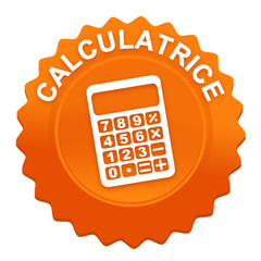 calculatrice sur bouton web denté orange
