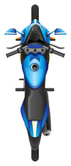 A topview of a blue scooter