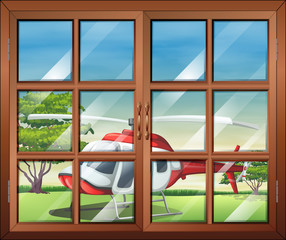 A closed window with a view of the chopper outside