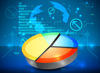 Pie chart on the rise vector business graph background