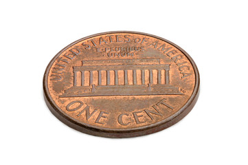 U.S. one cent coin isolated on white background. macro shooting