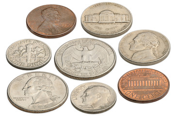 US coins isolated on a white background