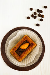 Almond cake and coffee beans