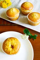 Homemade cupcake with the citrus filling