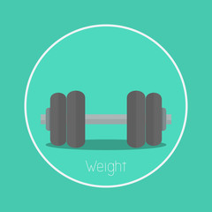 """Weight : Vector """"dumbbell"""" icon flat design"""