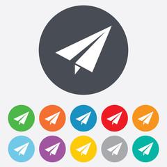 Paper Plane sign. Airplane symbol. Travel icon.
