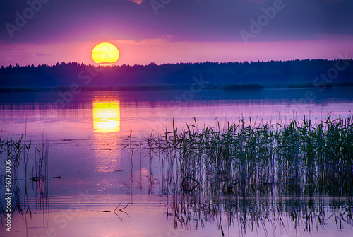 Sunset over Kanieris lake - 66373006