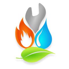 logo plombier chauffagiste énergies renouvelables