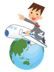 飛行機で飛び回るビジネスマン