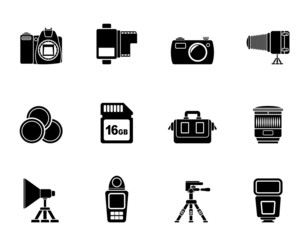 Silhouette Photography equipment and tools icons