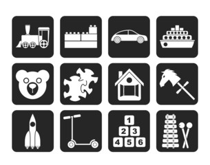Silhouette Different Kinds of Toys Icons