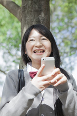 木陰で携帯を見る高校生