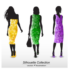 Silhouettes of elegant fashion women.Geometrical design