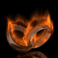 ring wedding ,burn