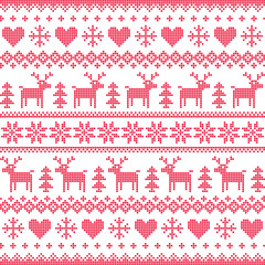 Winter, Christmas red seamless pixilated pattern with deer