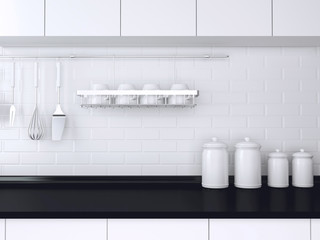 Black and white kitchen design.