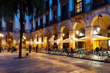 Outdoor restaurants at Placa Reial. Barcelona